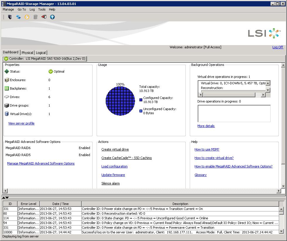 LSI MegaRAID Manager - raid array extension